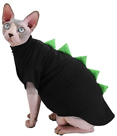 Dinosaur Design Sphynx Hairless Cat Clothes Cute Breathable Summer Cotton Shirts Cat Costume Pet Clothes,Round Collar Kitten T-Shirts with Sleeves, Cats & Small Dogs Apparel