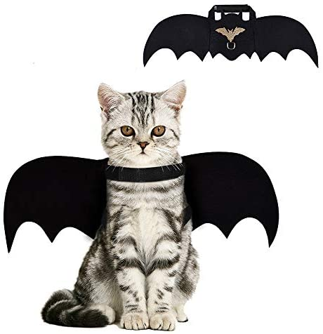 Cat Bat Costume,Halloween Cat Bat Wings for Pets,Cat Halloween Collar Pet Apparel for Small Dogs and Cats,Comfort Material Pet Costume for Halloween (Cat Bat Costume)