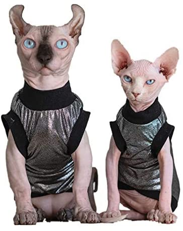 Hairless Cats Clothes, Punk Rock T-Shirt Sleeveless Steampunk Tank Top Vest, Breathable Summer Vest Cat Wear Clothes for Sphynx, Cornish Rex, Devon Rex, Peterbald, Hairless Cats Apparel Assorted Size