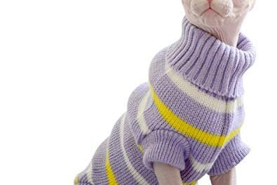 Bonaweite Hairless Cats Stripe Vest Turtleneck Sweater, Breathable Adorable Cat Wear Shirt Clothes, Cat's Pajamas Jumpsuit for Sphynx, Cornish Rex, Devon Rex, Peterbald