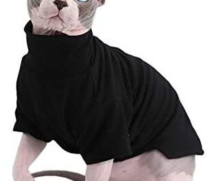 Sphynx Cat Clothes Winter Thick Cotton T-Shirts Double-Layer Pet Clothes, Pullover Kitten Shirts with Sleeves, Hairless Cat Pajamas Apparel for Cats & Small Dogs