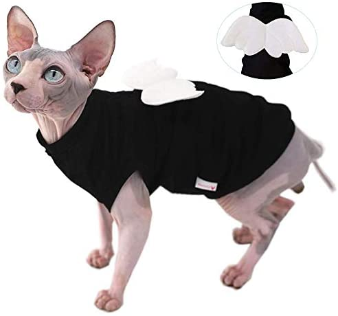 Sphynx Hairless Cat Cute Breathable Summer Cotton Dress Skirt Shirts with Wings Pet Clothes,Round Collar Kitten T-Shirts with Sleeves, Cats & Small Dogs Apparel