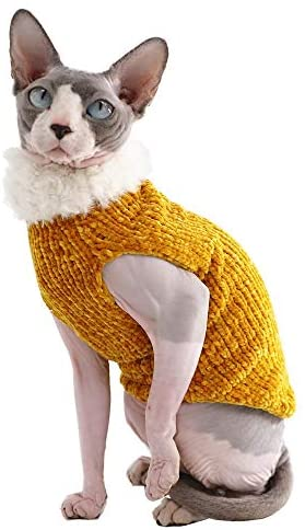 Sphynx Cat Clothes Winter Warm Faux Fur Sweater Outfit, Fashion high Collar Coat for Cats Pajamas for Cats and Small Dogs Apparel, Hairless cat Shirts Sweaters (XL (9.9-13.2 lbs), Ginger)