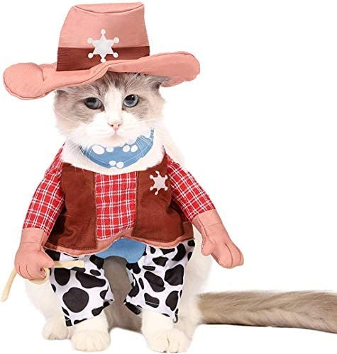 Spooktacular Creations Halloween Cowboy Cat Pet Costume for Halloween Dress-up Party, Role Play, Carnival Cosplay, Holiday Decorations Clothes