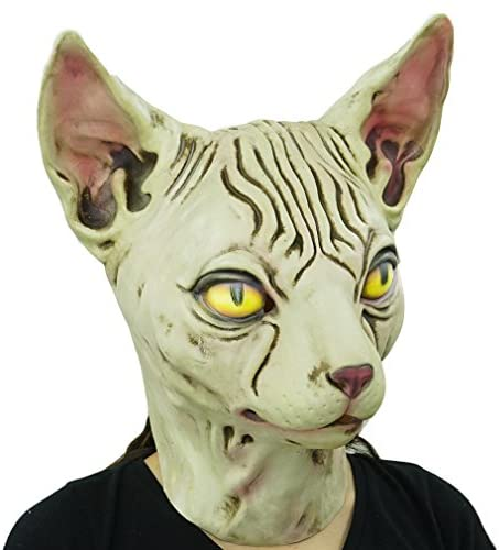 Hairless cat Latex Mask Funny Animal Hood Halloween Costume Party Decorations