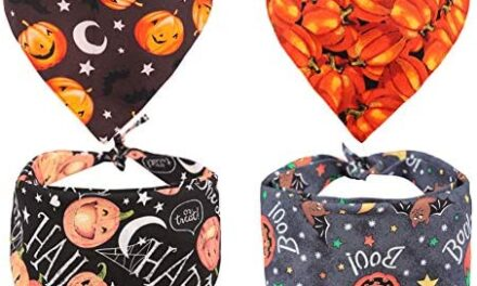 KZHAREEN 4 PCS/Pack Halloween Dog Bandana Pumpkin Reversible Triangle Bibs Scarf Accessories for Dogs Cats Pets