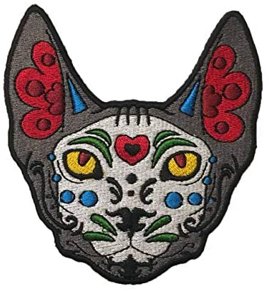 Día de Los Muertos Sugar Skull Sphynx Cat Sew-On Embroidery Patch – 3.5×3.25 inches