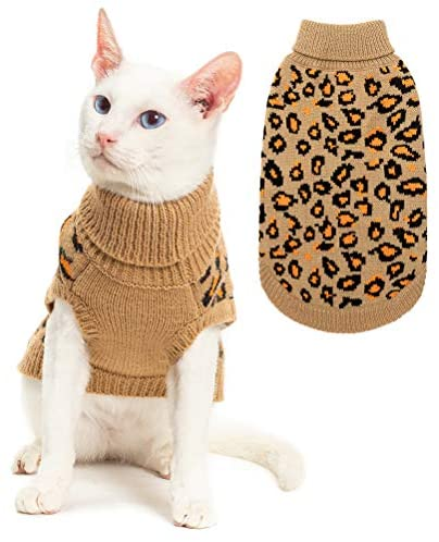 Mihachi Winter Leopard Warm Cat Sweater Fashion Knit Vest for Cats Puppy Small Animals Brown