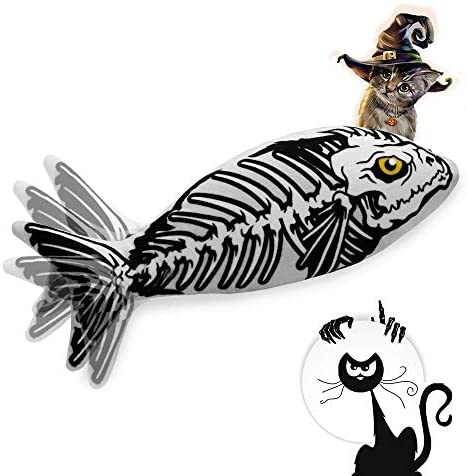 Ospetty Halloween Catnip Moving Fish Cat Toy Electric Dancing Fish Catnip Kicker Interactive Realistic Floppy Fish Toy Lifetime Replacement Guarantee