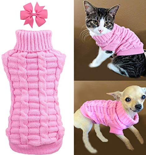 Aiwind Dog Cat Sweater Warm Braid Plait Turtleneck Knitwear Soft Fall Pullover Winter Pet Clothes for Dog Puppy Kitten Cat