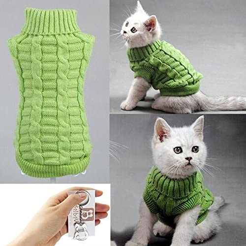 Bolbove Cable Knit Turtleneck Sweater for Small Dogs & Cats Knitwear Cold Weather Outfit