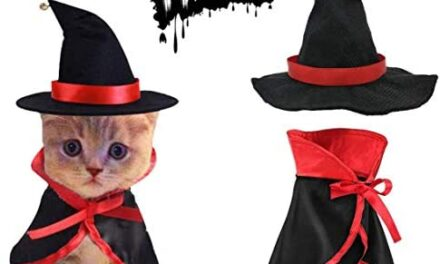 TOLOG Cat Halloween Costumes 2Pcs-Vampire Cloak and Wizard Hat for Halloween Dog Outfit Fairy Pet Cosplay Apparel Kitten Puppy Clothes